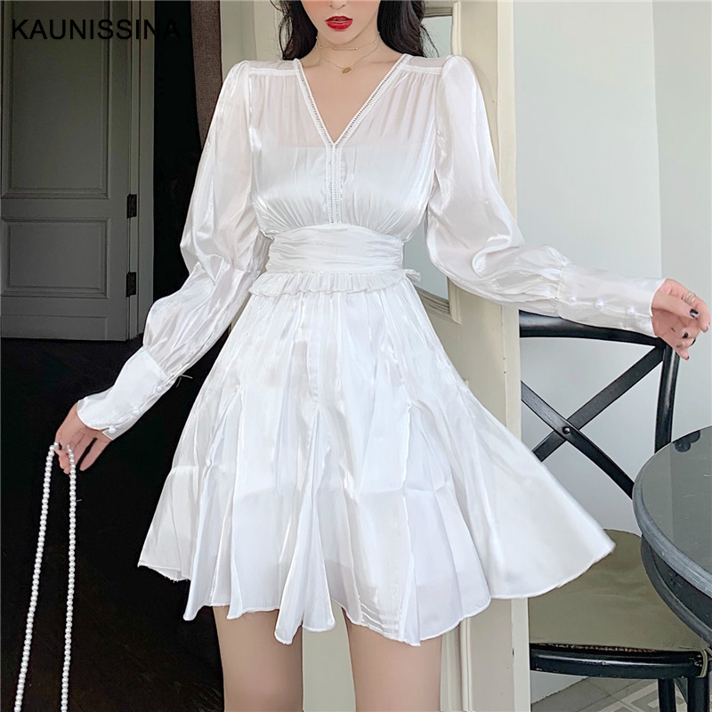 KAUNISSINA Silk Satin Party Dress Cocktail Robe Long Puff Sleeve V-neck Short Solid Korean Style Homecoming Desses Mini Vestidos