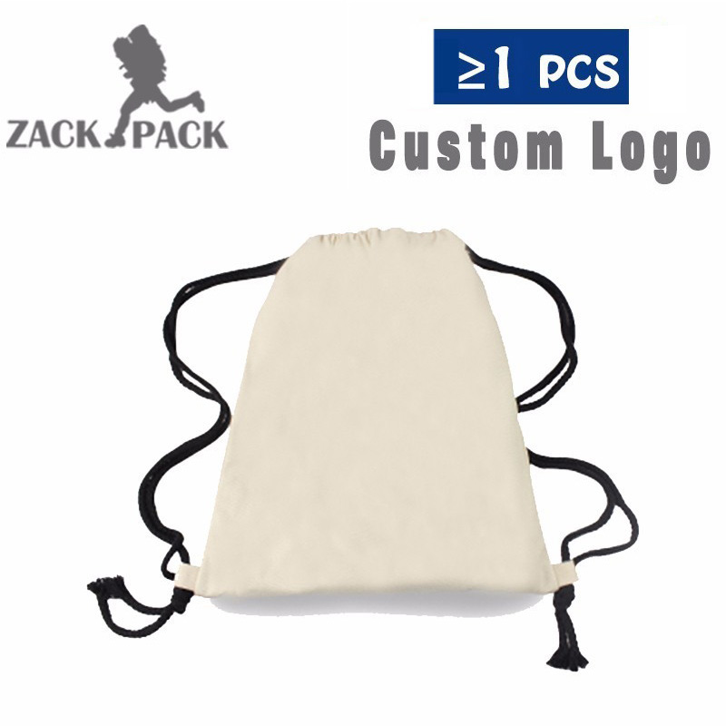 3PCS Zackpack Drawstring Backpack Student Sports Cotton Drawstring Bag Small Backpack Printing Customized Logo Polyester Bag