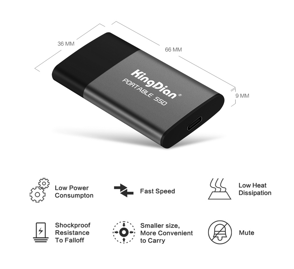 Portable External SSD 1TB 500GB Hard Drive USB 3.0 Type C External Solid State Drives For Laptop