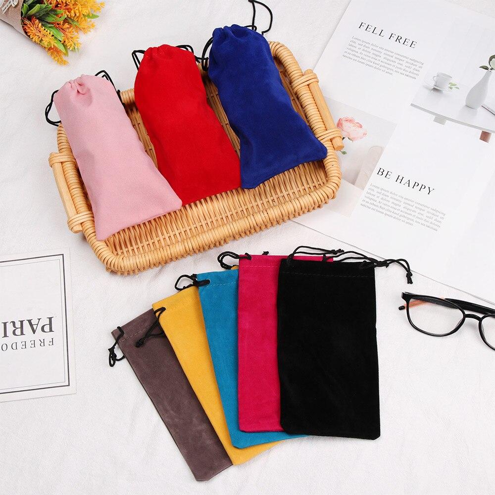 Bolsa con cierre de cordón para gafas de sol, funda suave para miopía, bolsillo, accesorios para gafas