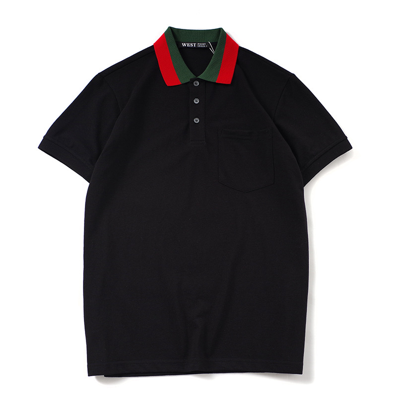 New Novelty 2020 High Embroidered Green Red stripe Collar Fashion Casual Polo Shirts Shirt Skateboard Cotton Polos Top Tee L25