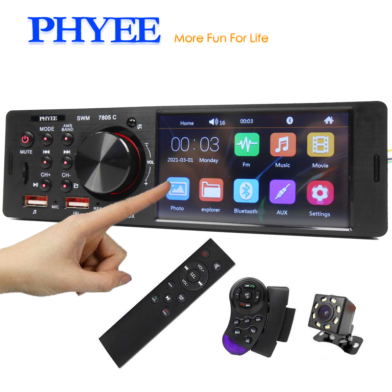 Mp5-Player Head-Unit Car-Radio Audio Remote-Stereo-System Touch-Screen Video Bluetooth