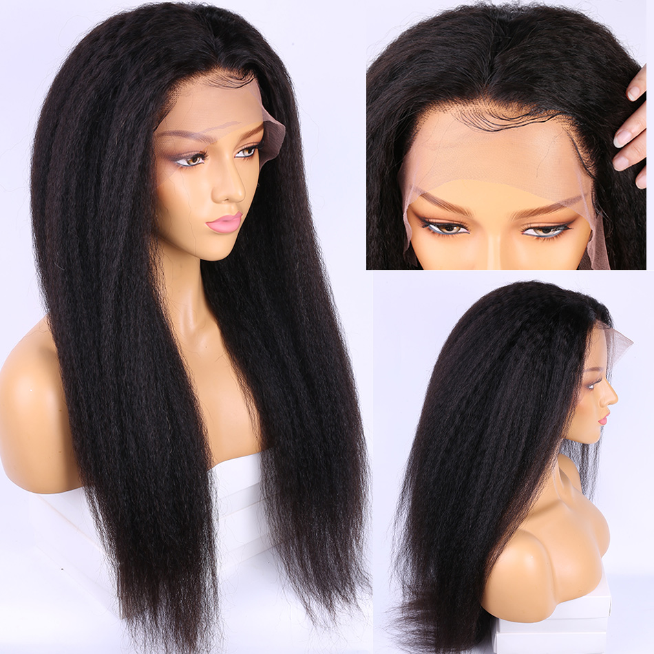 Alibele Hair Brazilian Kinky Straight Wigs With Baby Hair Remy 13x4 Pre Plucked Lace Front Yaki Human Hair Wig For Black Women
