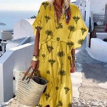 Women's Summer Dress Sexy V-Neck Short Sleeve Print Dress Ladies Casual Vacation Beach Dresses Sashes Casual vestidos wildpinky women summer boho dress sexy v neck short sleeve print long dress 2019 ladies casual vacation beach dresses vestidos