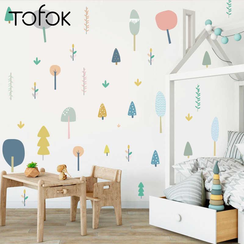Forest Trees Rainbow DIY Wall Sticker Nordic Style Kids Room Nursery Dorm Mural