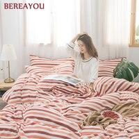3/4pcs Luxury Bedding Sets Coral Fleece Duvet Cover Set Strip Printing For Kids Boy Adult Bed Linen Twin King Size parure de lit