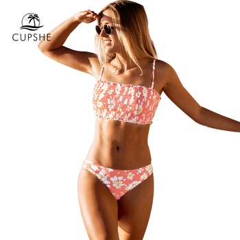 CUPSHE Pink Floral Smocked Bandeau Top Low-Waitsed Bikini Sexy Swimsuit Two Pieces Swimwear Women 2020 Beach Bathing Suits 4
