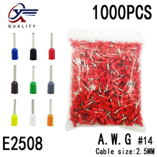 1000pcs/Pack Block-Cord Terminal Insulated-Ferrules End-Wire-Connector Electrical-Crimp-Terminator Tubular-AWG E2508