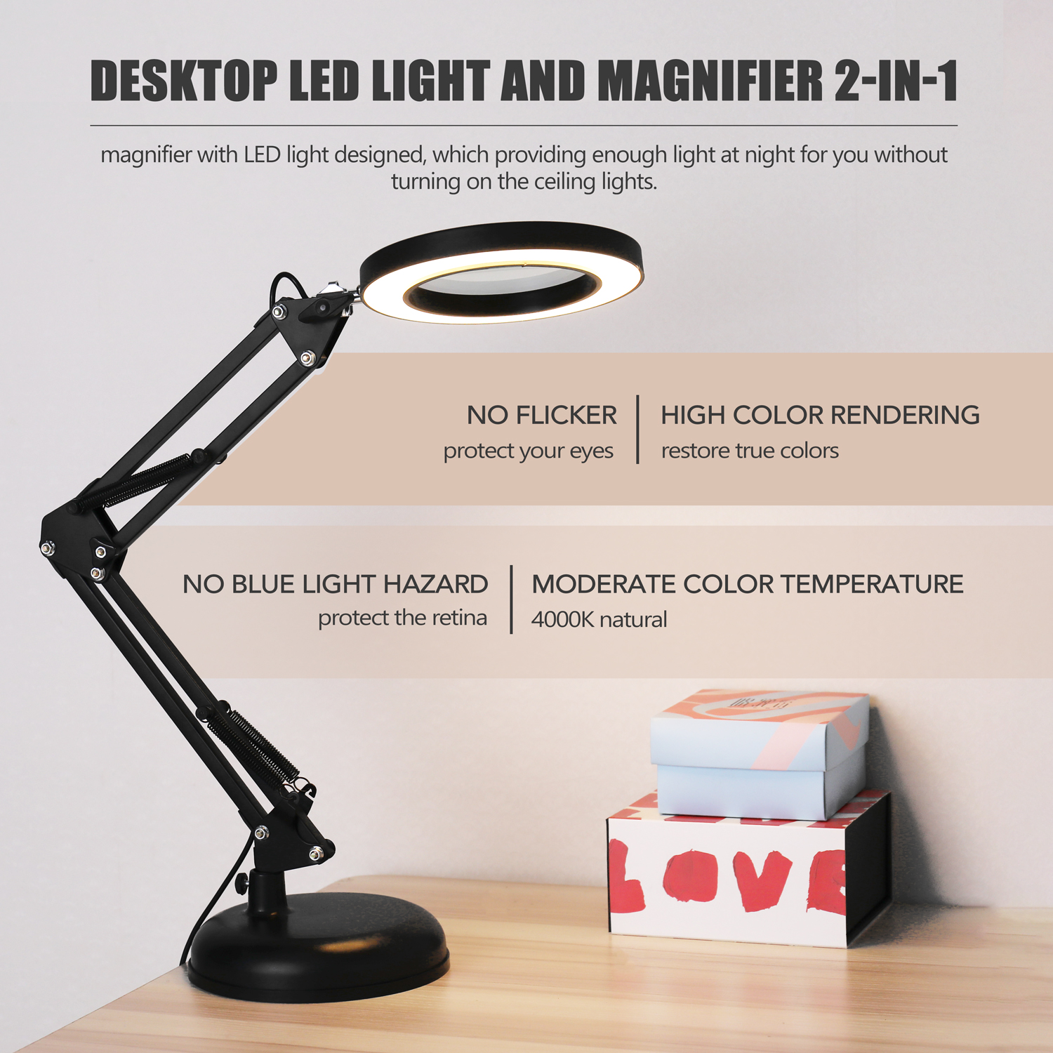 5X Magnifying Glass Desk Lamp Magnifier LED Light Reading Lamp with Three Dimming Modes USB Power Supply Foldable Professional