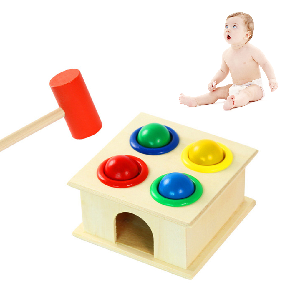 Funny Colorful Wooden Hammer Stick Hammer Box Toys Wood Knocks Pounding Hammering Percussion Kids Early Educational Toy