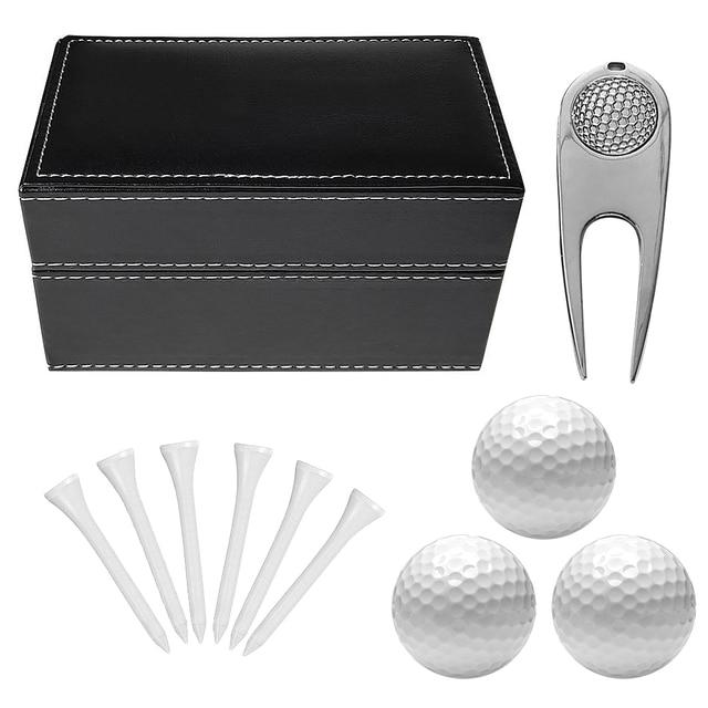 11 PCS Golf Accessories Kit with 6 Golf Tees 3 Golf Balls Divot Repair Tool Leather Box Set Golf Trainning Gift 2