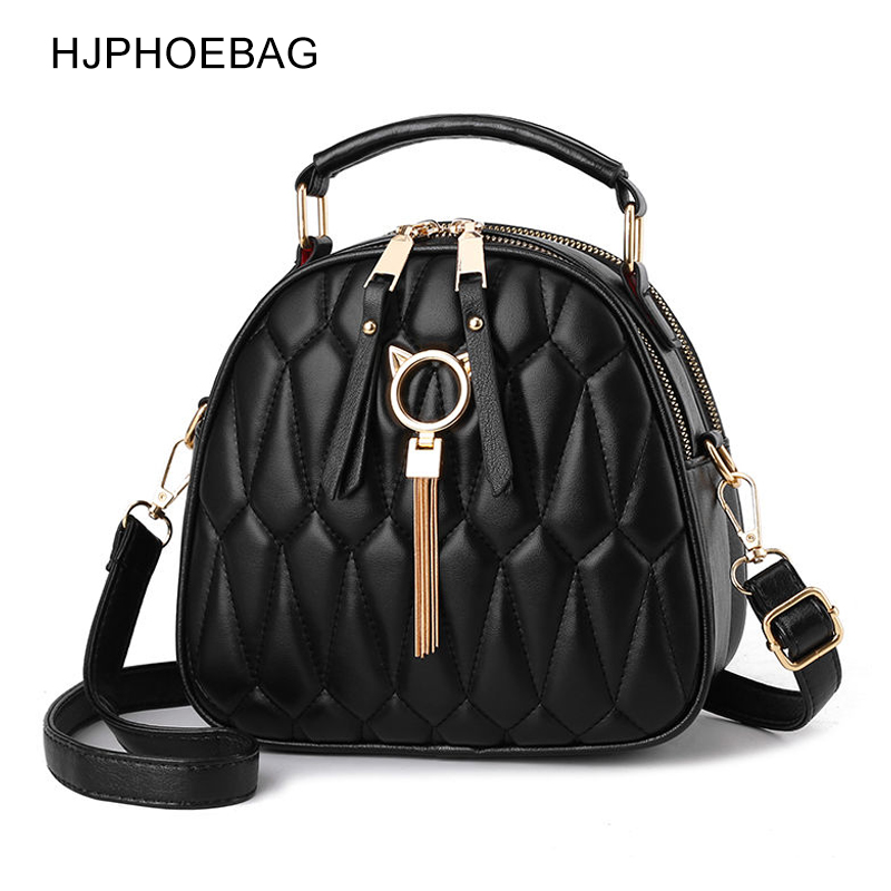 HJPHOEBAG Wild Small Round Bag Women Solid Color Soft PU Leather Shoulder Bag All-match Tote Bags Casual Fashion Handbag YC353