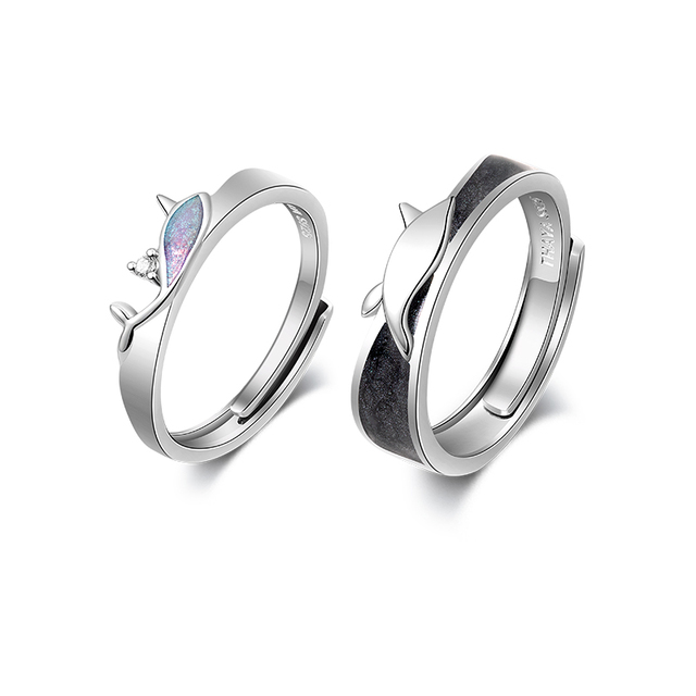 Thaya 100 S925 Sterling Silver Crystal Fantasy Narwhal Ring Enamel Original Design For Women Elegant Rings