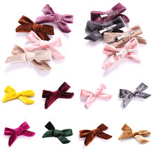 1Pc Hair Accessories Solid Velvet Hair Bows Lovely Hair Clips For Girls/Kids Hairgrips Handmade Bow-knot Clip Headwear(China)