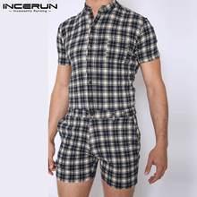 Jumpsuits Overalls Shorts Streetwear Summer Men Casual Rompers Pockets INCERUN Mens Plaid