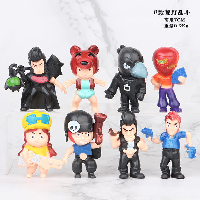 US $8.09 32% OFF|18pcslot Brawl game cartoon star hero figure model Spike Shelly Leon PRIMO MORTIS doll kawaii cute toy gift for boy girl kids on