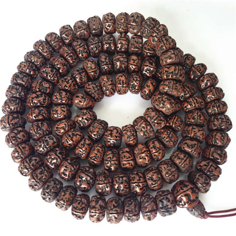 Tibetan Buddhist Mala 108 Big Oiled Rudraksha Bodhi Beads Mala 16-18mm for Man BRO575-0