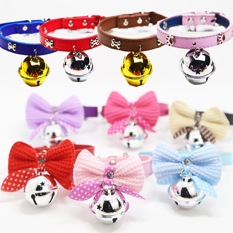 With Bell Yarn Bow Pu Dog Collar Pet Dog Cat Supplies