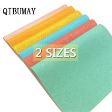 QIBUMAY 2 Sizes Glitter Fabric Sheets Shiny Synthetic Leather Handmade Hairbow Materials DIY HandBag Shoes Textile Sequin