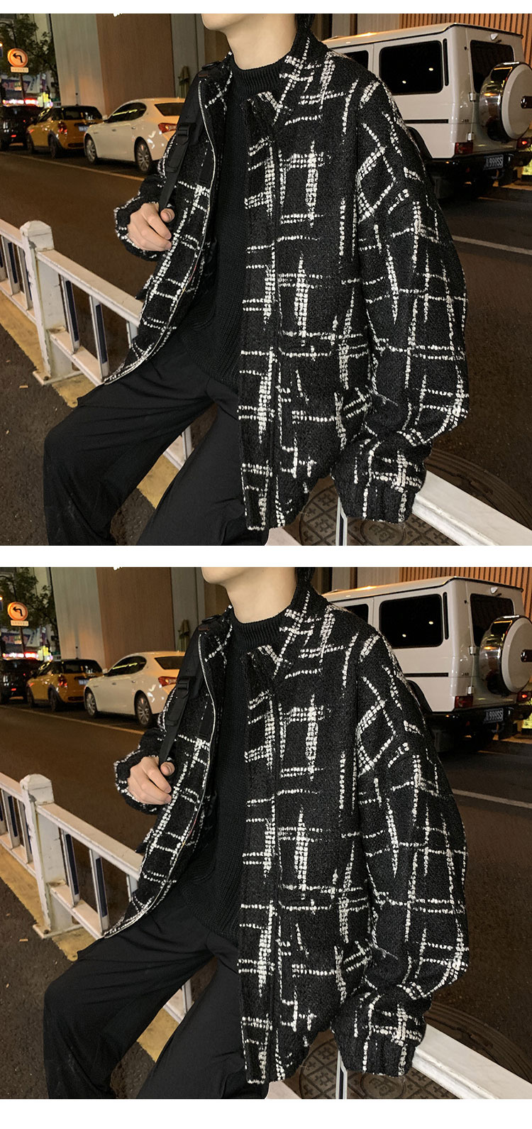 2019 Winter Men Coat Winter Korean Style Thick Streetwear Geometric Lines Design Oversize Peacoat Warm Mens Coats and Jackets