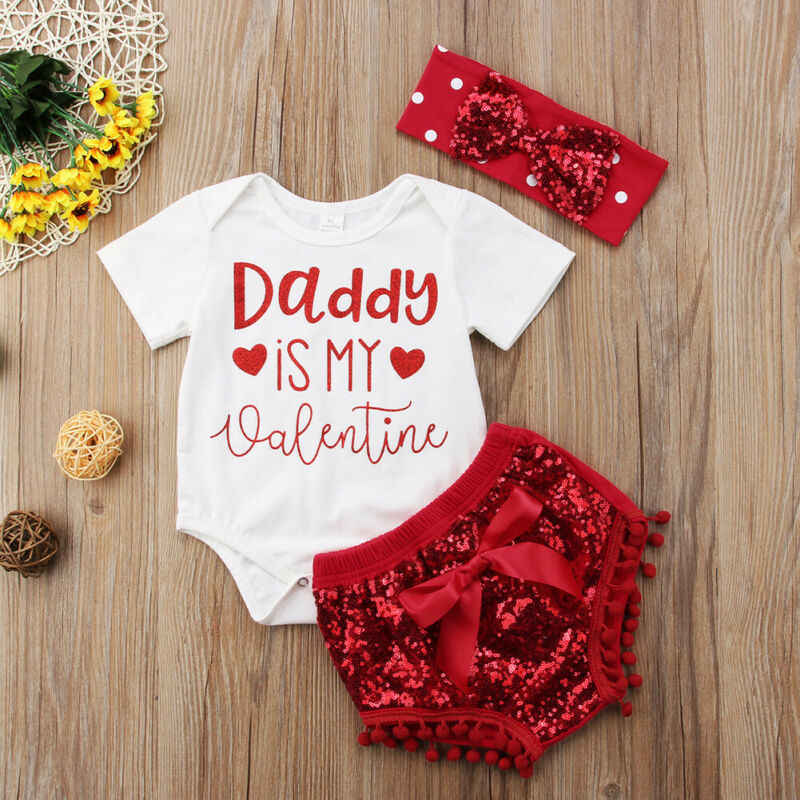 Newborn Infant Baby Girls Tops Romper Bowkont Shorts Sequins Outfits Set 2020 New daddy's little valentine cute gilrs outfits