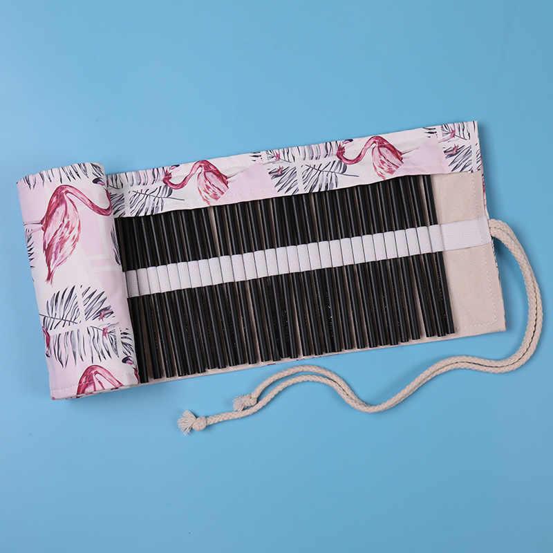 Kawaii Penal voor School Roll Etui Meisjes Jongens Pencilcase 36/48/72 Gaten Eenhoorn Flamingo Pen Zak cartridge Briefpapier Kit