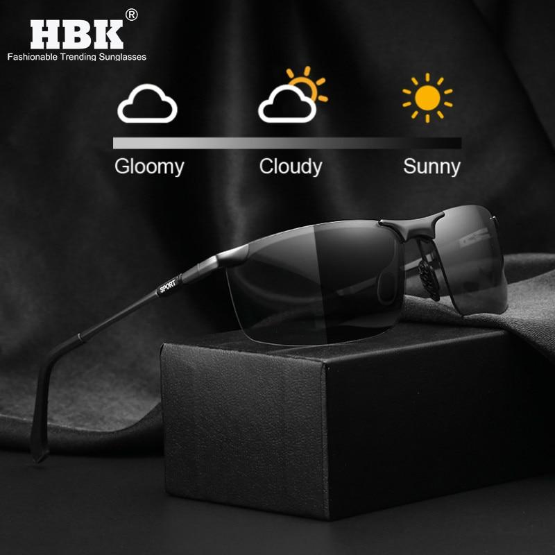 HBK Men Sports Polarized Photochromic Sunglasses Rectangle Intelligent Color Change Aluminum Sun Glasses Summer Driving Goggles