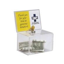 Boîte de collecte de dons Perspex en acrylique, boîte de collecte de fonds de charité avec serrure à clé pour église, groupe non rentable, charité