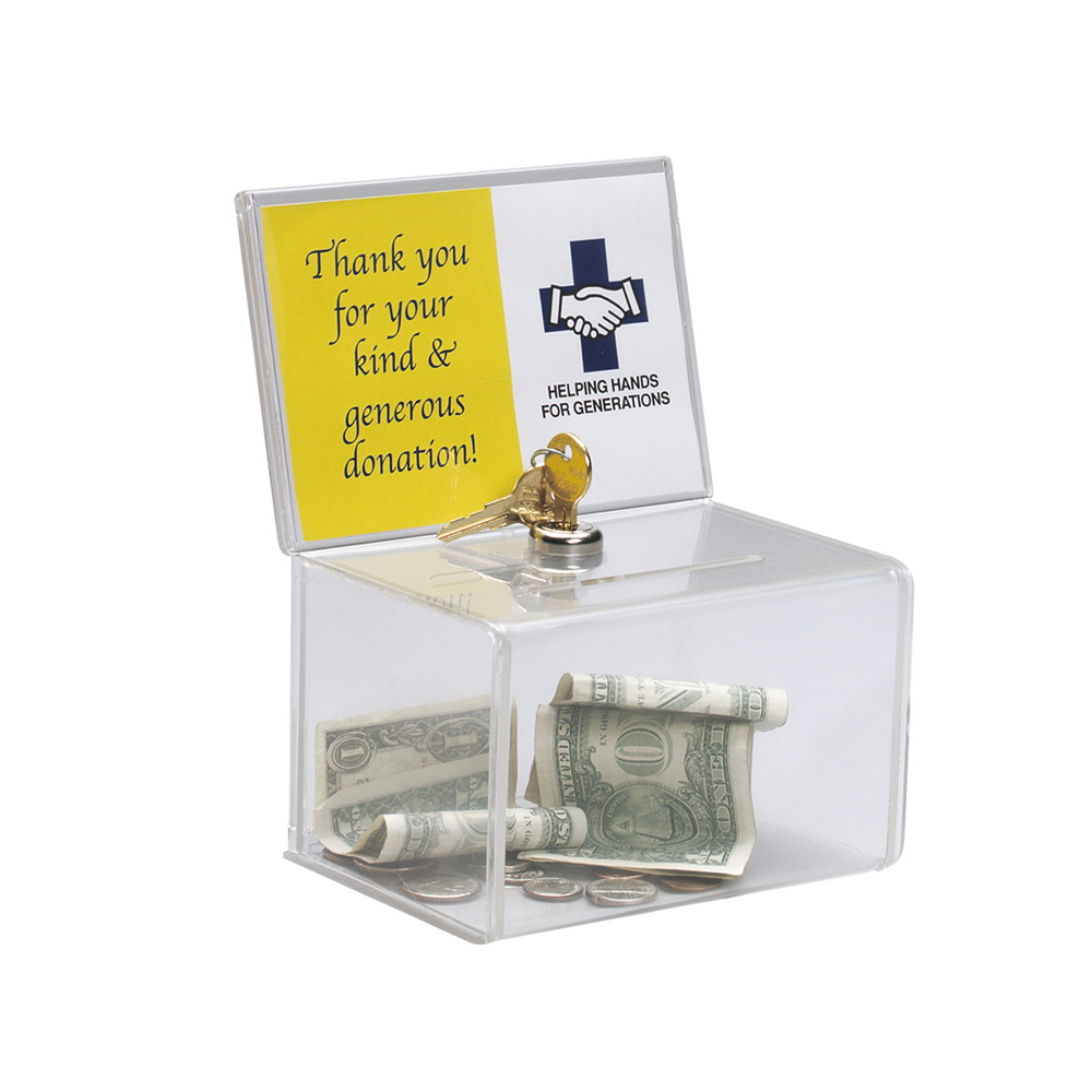 Counter Acrylic Donation Collection Box,Perspex Charity Fundraising Box with Keylock for Church,non-profitable Group,Charity image