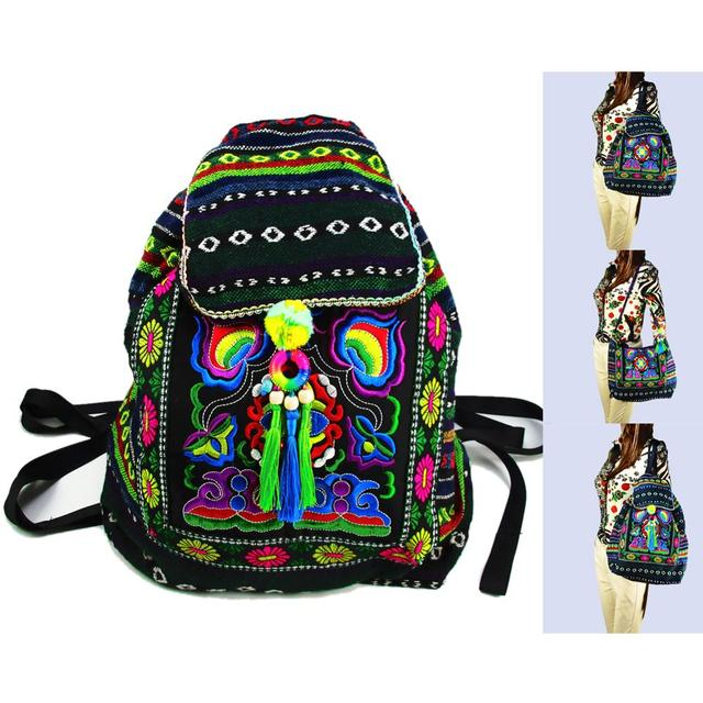 Tribal Vintage Hmong Thai Indian Ethnic Embroidery Bohemian Boho rucksack shoulder hippie ethnic bag backpack bag L size SYS 567