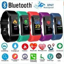 115 Plus kolorowy ekran inteligentne monitorowanie Bacelet tętno ciśnienie krwi sen zdrowe informacje o wykrywaniu przypominające dorosłych