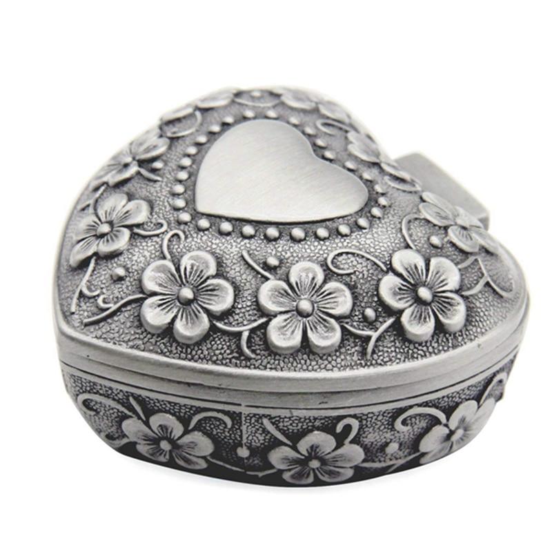 ELEG-Classic Vintage Antique Heart Shape Jewelry Box Ring Small Trinket Storage Organizer Chest Christmas Gift,Silver