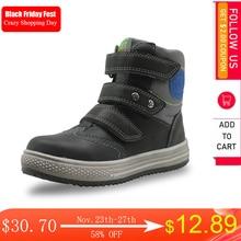 Apakowa秋の冬のブーツ子供の靴puレザーボーイズソリッドフラットアンクルブーツ子供のためのファッションアーチサポート子靴