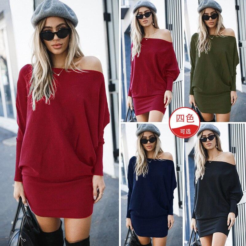 Fashion Slash Neck Long Sleeve Mini Dress For Lady Autumn Winter Dress 2019 Female Solid Off Shoulder Slim Dresses New Cotton Se