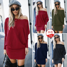 Fashion Slash Neck Long Sleeve Mini Dress For Lady Autumn Winter Dress