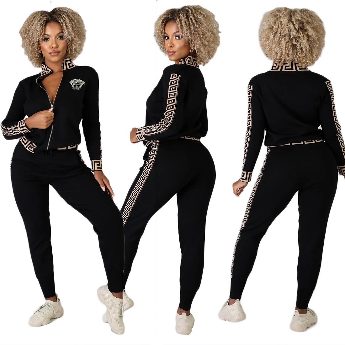 Women's Sports Suit Two-piece Suit Europe And The United States Street Clothing Women's Black Sportswear Sports Two-piece Suit