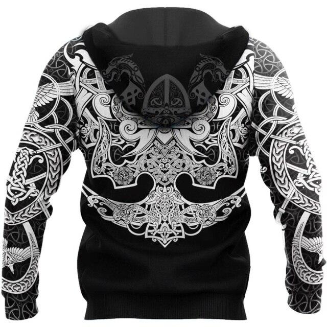 Viking Muninn Tattoo Raven 3D Printed Hooded Sweatshirt 3