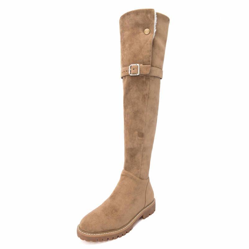 Meotina ฤดูหนาวกว่าเข่าบู๊ทส์สตรีขนสัตว์หัวเข็มขัดแบนรองเท้าบูทยาวซิปรอบ Toe รองเท้าผู้หญิงฤดูใบไม้ร่วงสีดำขนาด 34-39