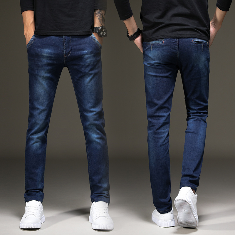 Casual Jeans Men's Autumn And Winter Slim Women's Stretch Trousers Youth Slimming Versatile Simple Fashion Korean-style Skinny P