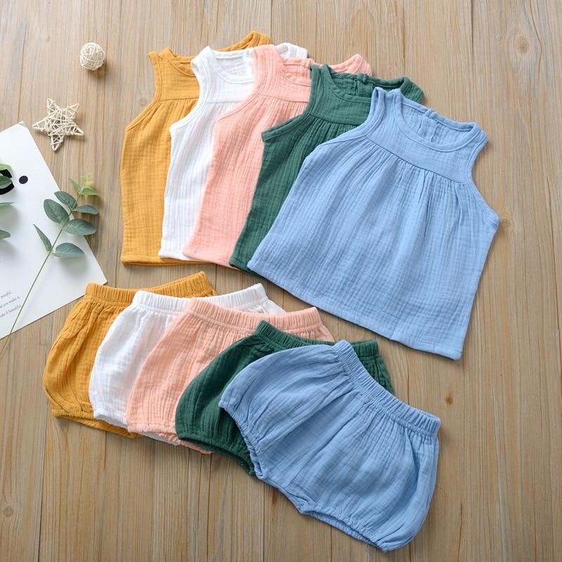 2020 Summer New Style Baby Boys & Girls Newborn Set (vest + Short Pants) Top-quality Comfort Materials Two-piece Baby Summer Set