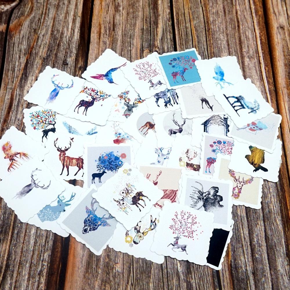 35pcs Cute Deer Waterproof Stickers DIY Diary Bullet Journal Decorative Stationery Sticker Guitar Laptop Phone Suitcase Stickers