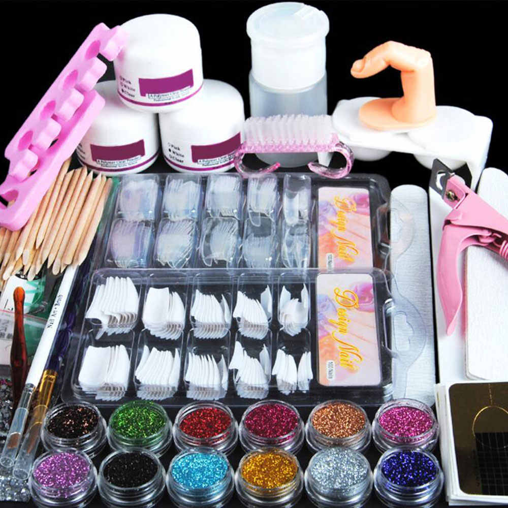 Acryl Poeder Glitter Nail Art Kit Valse Nail Tips Nail Art Decoratie Gereedschappen