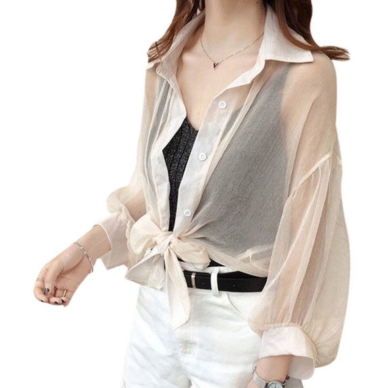 Women Chiffon see through Cardigan Long Sleeve Summer   Blouse   Cover up sunscreen   Shirt   elegant Breathable   Blouse