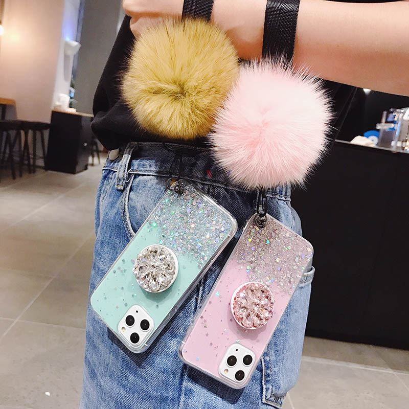 Hc116dbc3be3041f8b9ac421239532509l Luxury diamond cute hair ball lanyard bracket soft case for iphone 7 X XR XS 11 pro MAX 8 6S plus for samsung S10 S8 S9 Note A50