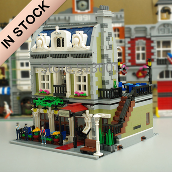 In Stock 10243 Creator Parisian Restaurant 15010 2418Pcs Street View Model Building Blocks Bricks 84010 15012 15001 15034 Toys