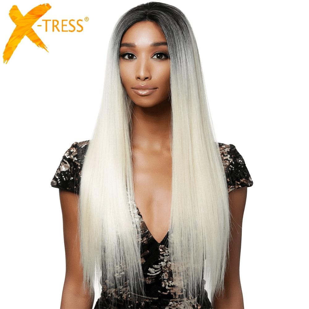 Lange Gerade Synthetische Spitze Front Perücke Für Schwarze Frauen Mittleren Teil Wärme Beständig Ombre Grau Rot Cosplay Täglichen Haar Perücke x-TRESS