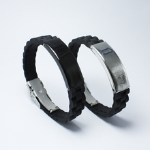 Sport Black Silicone Decorative Pattern Bracelets Bangles Men Stainless Steel Jewelry Geometric Accessories Cuff Bangle