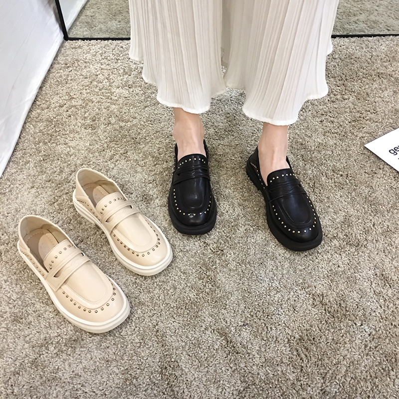 Women's Shoes Leather Shoes 2020 New Spring Thick Heeled Low-top Retro Two-wear Loafers