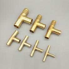 T т-Форма латунь Barb труба штуцер для шланга 3 контактный разъем для 4 мм 5 мм 6 мм 8 мм 10 мм 19 мм душевой шланг пагода воды фитинги для труб