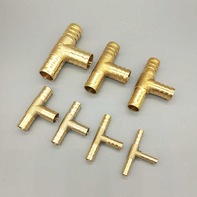 T way T-Shape Brass Barb Pipe  Hose Fitting 3 way connector For 4mm 5mm 6mm 8mm 10mm 19mm hose copper Pagoda Water Tube Fittings